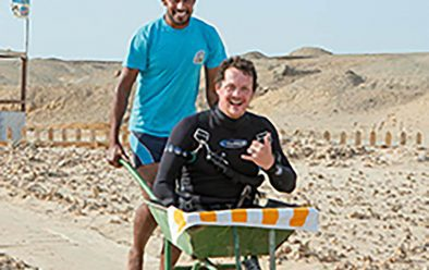 In Egypt, when a barrow is the most practical way to get Josh and other amputees down to the shore.