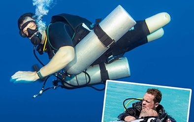 Josh Boggi, diving with Deptherapy at Roots, El Quseir in the Red Sea. Inset: Pool rescue training.