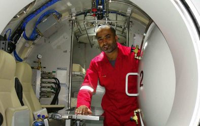 Yaqub Al-Omoud prepares to enter the saturation chamber, which allows diving for longer periods and greater efficiency in operations. It will be his home for six to eight weeks.