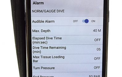 The app for computer settings, showing the alarms page.