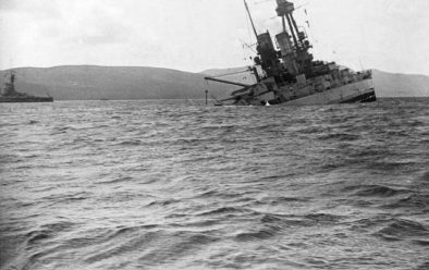 The Bayern sinking by the stern in 1919.