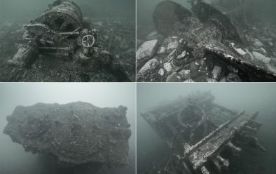 Above, clockwise from top left: One of the winches; the main two-bladed propeller; side and overhead views of the engine.