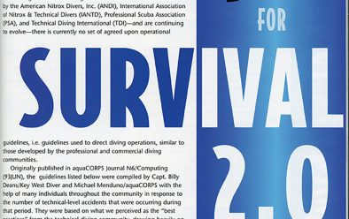 aquaCorps's Blueprint for Survival 2.0, an update of Sheck Exley's book A Blueprint for Survival on cave-diving accident analysis, from October 1995.
