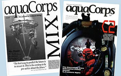 Covers of Michael Menduno's influential tech-diving journal aquaCorps from 1992 and 1993.