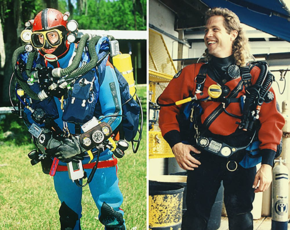 Left: Cave-explorer Olivier Isler's first redundant rebreather at Ressel in France in 1990. Right: Michael Menduno in a DUI CF200 drysuit at Key West Diver in Florida, 1991.