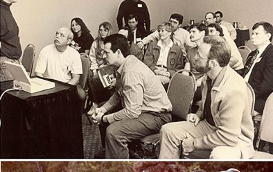 Below from top: Early players in the development of technical diving: Dr Bill Hamilton (right) with Kathy Hamilton and Michael Menduno in 1993; Kevin Gurr (left) presenting at the aquaCorps tek.93 conference; Carmellan Research founder Stuart Clough (left) and Rob Palmer prepare to dive Carmellan's CR155 rebreather at Andros Island in the Bahamas.