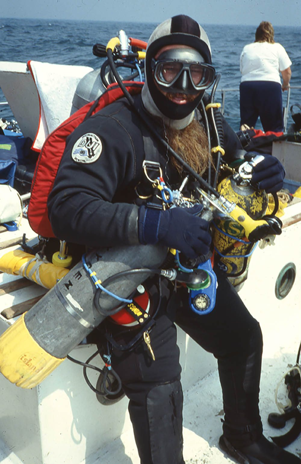Wings Stocks prepares to dive on the Andrea Doria wreck.