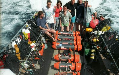 Another sub-100m expedition, this time for the Britannic 1998 dive team, showing off their AquaZepp DPVs.