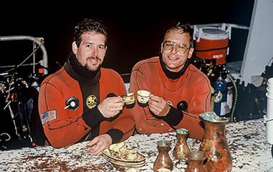Divers Steve Gatto and Tom Packer in 1990, with china crockery and vases recovered from the Andrea Doria wreck.