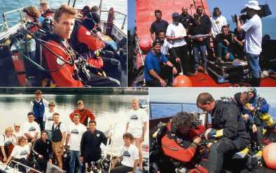 Clockwise from top right: Simon Tapson with the Starfish Enterprise team; Kevin Gurr's team diving the WW1 HMS M1 submarine in the Channel was one of the first projects to combine mixed-gas and filming for TV. Main divers were Gurr, Richard and Ingemar Lundgren and Phil Short; Kevin Gurr helping to put a trimix team in the water; The Lusitania 94 team led by Polly Tapson carried out the first British mixed-gas diving expedition on a deep wreck.