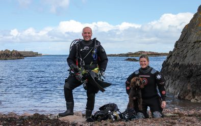 Lauren Smith about to go diving off Peterhead with Chris Rickard, a fellow Amphibian. Lauren's dog stayed onshore