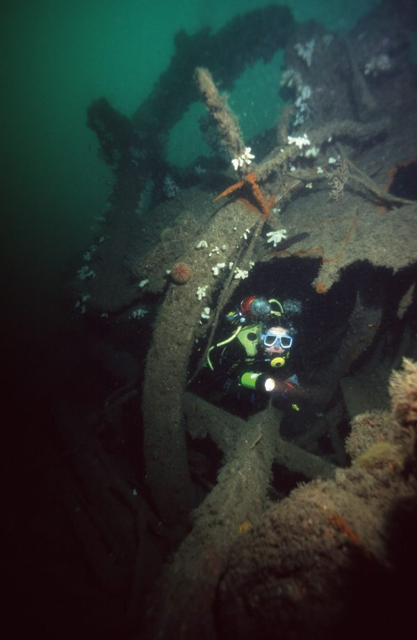 Swimming through the propeller-shaft tunnel of the Persier.