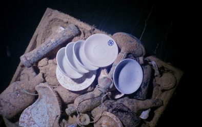 Crockery in the galley of the Shinkoku Maru, sunk in Truk Lagoon during Operation Hailstorm.