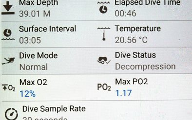 Basic dive data for the Rosalie Moller wreck dive from the DiverLog+ app.