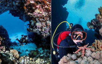 Left: Diver Bill Paskert inside the Numidia wreck at Big Brother.