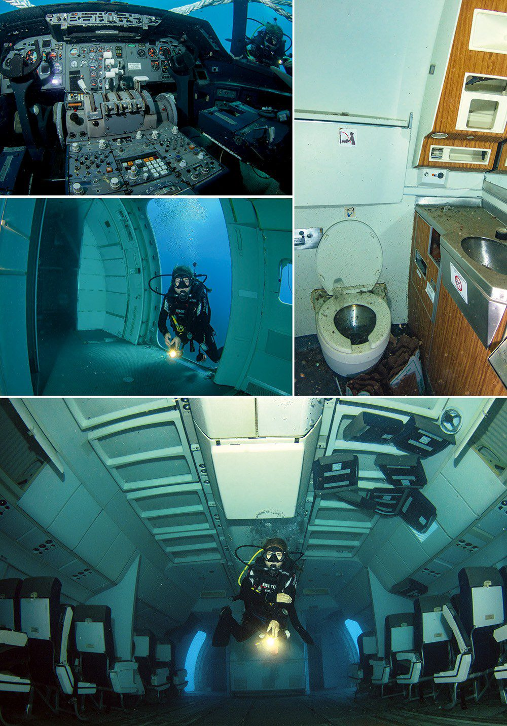 Clockwise, from top left: The cockpit with all controls intact; one of the lavatories; inside the fuselage; boarding.