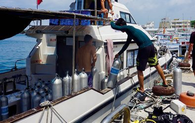 Loading the boat for the barracuda dive.