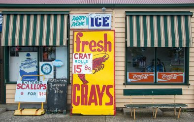 A store on the Tasman Peninsula advertises fresh crays (southern rock lobsters) for sale.