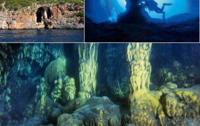Clockwise from top left: Grotta delle Noglie; the Chiacchio cavern entrance; columns in the Santa Maria cavern.