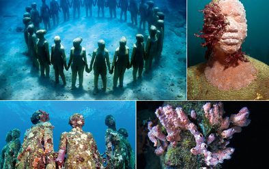 The Moliniere Underwater Sculpture Park in Grenada was put together in 2006 and 2007. It might be battered now, but Jason enjoys documenting these early sculptures as their underwater transformation continues.
