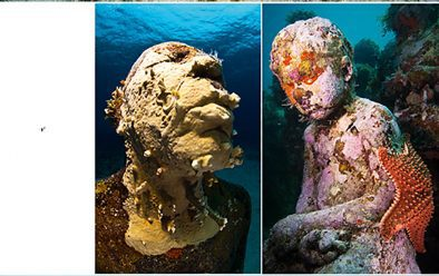 Mexico's Underwater Museum was assembled off the coasts of Cancun and Isla Mujeres in 2009-2013. It includes The Silent Evolution, the largest underwater collection of art, with 450 life-size cement figures standing in the sand. Taylor used neutral-pH cement to encourage marine growth – as on the 'TV set' that formed part of Inertia, above. Local people are frequently used as models.
