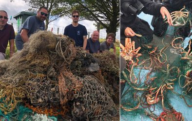 Left: Some nets recovered in Cornwall. Right: Gill-net at Hilsea Point.