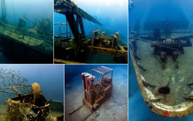 Clockwise from top left: Uplifted stern of new wreck the Vicky B; crane; bow; forklift in the hold; brown chromis over the stern deck.