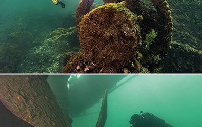 Gear and prop on the Conestoga wreck.
