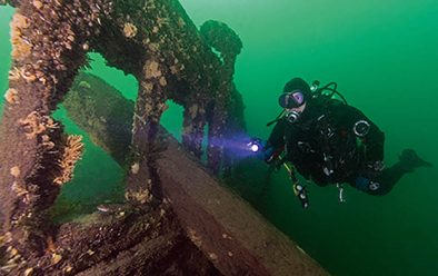 Exploring the wreck of the Robert Gaskin.