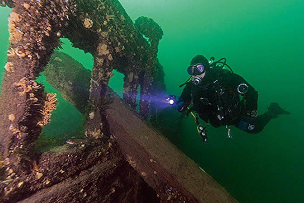 Exploring the wreck of the Robert Gaskin.
