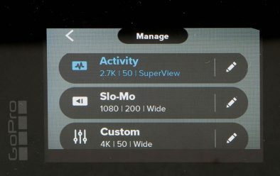 Settings screen for custom modes.