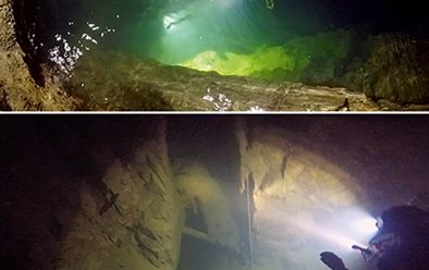 Top: Leaving the surface pool in a flooded mineshaft. Above: bottom of a mine-shaft looking into the workings.