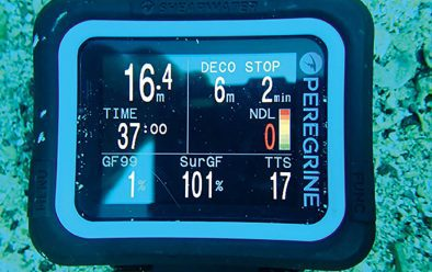 Underwater view of decompression display. TTS is Time To Surface including stops. A further stop at 3m is called for.