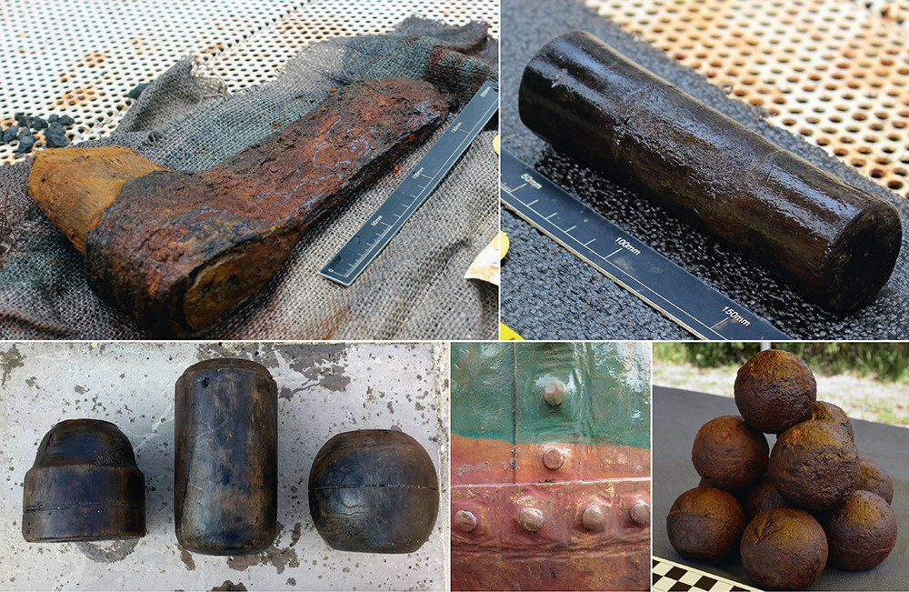 Above, clockwise from top left: Shipwright's axe-head; wooden axle for pulley block; grape shot; cooking-pot rivet detail; rammer head, sponge cylinder & parrel bead.